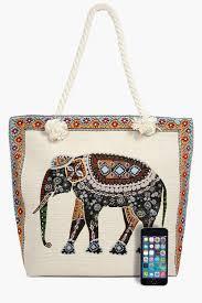 Elephant Designer Bag Maisy Elephant Print Beach Bag