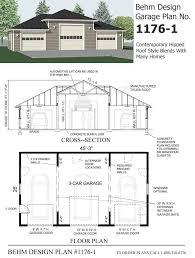 three car with high center bay garage plan 1176 1 by behm design