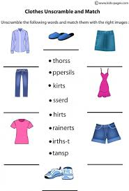 Clothes Unscramble worksheets