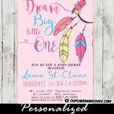 Dream Catcher Baby Shower Invitations Boho Feathers Dreamcatcher Baby Shower Invitation Pink 32