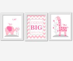 wall art baby girl nursery wall art pink gray elephant giraffe dream big 284627532 960x800 most