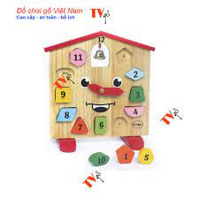 Bộ đồ chơi đồng hồ bằng gỗ cho bé   Đồ chơi đồng hồ KingKong ghép hình học  số đếm cho bé giá cạnh tranh