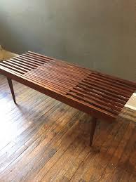 george nelson inspired mid century modern slatted by ljindustries mid century modern storage bench