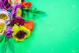 Make Crepe Paper Flower Utensils And Tools For Making Crepe Paper Flowers On Green