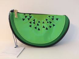 tartan twine kiwi clutch makeup bag nwt