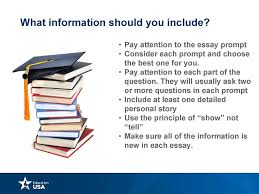 writing a college application essay презентация онлайн pay attention to the essay prompt • consider each prompt and choose the best one for you • pay attention to each part of the question