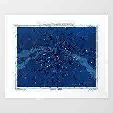Constellation Chart Antique Constellation Chart Art Print