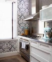 Kitchen Backsplash Wallpaper Kitchen With Black White Damask Wallpaper And Mosaic Glass Tile