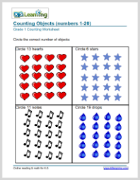 1st Grade Number Charts and Counting Worksheets | K5 Learning... grade 1 counting objects worksheet