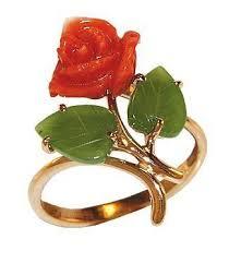 Кольцо золото 585. Коралл.