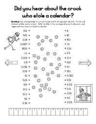 Percent Decimal Conversions Calendar Crook