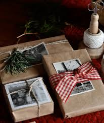 Brown Paper + Old Photos Christmas Gift Wrapping Idea