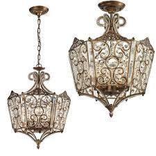 elk 11721 8 villegosa spanish bronze flush mount ceiling light fixture hanging light loading zoom