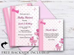 baby girl invite custom baby shower invitation thank you cards baby girl shower invitation
