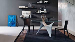 contemporary dining table glass cement round