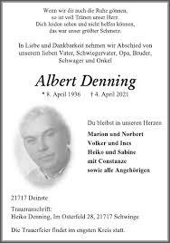 Albert Denning : Traueranzeige, Stader Tageblatt