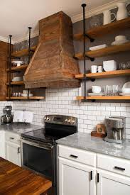 white traditional kitchen copper. Rustic Copper Hood And Wooden Country Shelves Using White China For Traditional Kitchen Ideas D