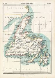 Small Picture Antique Map of Newfoundland 1884 Vintage Map Home Decor Gift