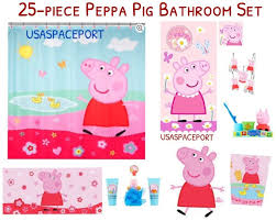 details about 25 pc complete peppa pig bath shower curtain hooks rug tub mat towels gift set