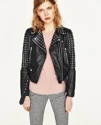 zara black real leather biker jacket metallic rings studs size m ref 4720 021