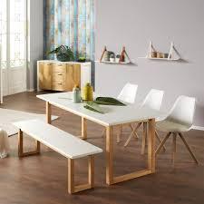 Essgruppe Hanstholmblokhus 90x190 3 Stühle 1 Bank Weiß