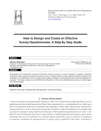 Questionnaire Questions For A Business Pdf How To Design And Create An Effective Survey