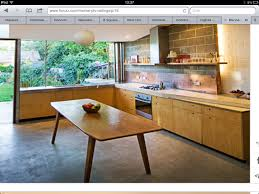 Concrete Floors Kitchen Plywood Kitchen Doors Copper Splashback Polished Concrete Floor