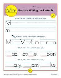 Penmanship Practice Sheet Letter M Worksheets Printable Handwriting Worksheet