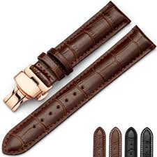leather watch band wrist strap 16mm 18mm 20mm 22mm 24mm rose gold erfly clasp buckle replacement bracelet belt black brown bertucci watch bands metal
