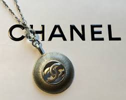 chanel logo necklace. chanel signature logo \u201ccc\u201d silver sunburst pendant necklace ~ renee\u0027s vintage design no.