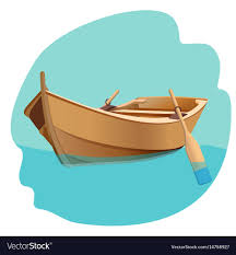 wooden boat with oars isolated vector image