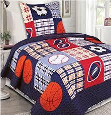 Amazon.com: Twin Size 2 Pcs Quilt Bedspread Set Kids Sports ... & Mk Collection Bedspread set Boys Sport Football Basketball Baseball Dark  Blue (Twin) Adamdwight.com