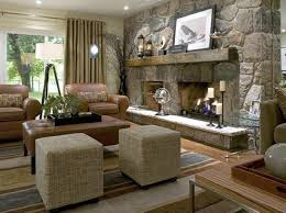 designs ideas modern living room with stone fireplace ans leather sofa plus ottoman coffee table