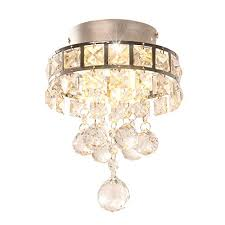 mini style 3 light chrome finish crystal chandelier pendent light for hallway bedroom kitchen kids room 3x1w led bulb included