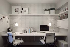 stylish home office desks. Trendy \u0026 Small Home Office Neutral Dots Wallpaper Built In Working Desk White Modern Stylish Desks