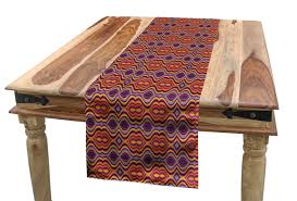 Oval Shape Dining Table Design Amazon Com Lunarable Psychedelic Table Runner Colorful