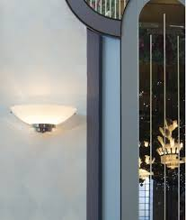 art deco chrome opal glass wall light