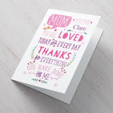 Personalised Mothers Day Card Speech Bubble Birdy