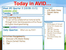 today in avid week quarter calendar site  today in avid week 3 quarter 2 10 28 11 1 calendar site