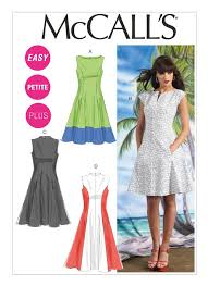 Fit And Flare Dress Pattern New M48 Misses'Women's Petite Lined Fit And Flare Dresses Sewing