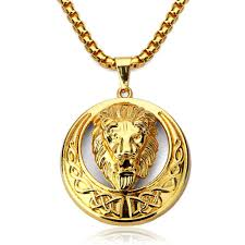mens jewellery lion pendant men necklace hipster hip hop jewelry gold plated chain big necklace 2017 fashion jewelry set hip pop necklace diamond necklace