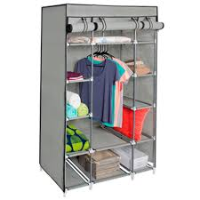 best choice s 13 shelf portable fabric closet wardrobe storage organizer w cover and hanging rod gray com
