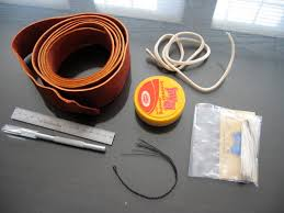 pictured are the 2 inch 50mm strip of redhide the whitehide fall the leather dressing jayel the artificial sinew the er