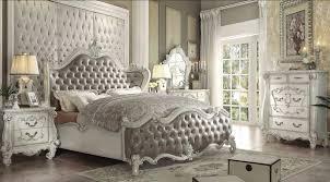 vintage bedroom furniture. Acme Versailles Upholstered Bedroom Set In Vintage Gray PU Bone White Inside Furniture