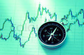 Compass On Stock Market Data Chart In Stock Image