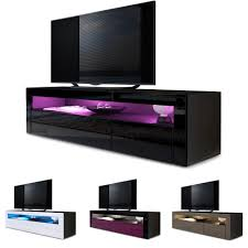 Tv Unit Stand Sideboard Led Valencia In Black High Gloss