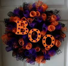 This Spiral Wreath is AMAZING! Made with purple, orange, black deco mesh &  jute. BOO Wood letters hand painted and glitter added to the