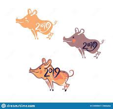 Chinese Calendar Template Pig 2019 Chinese Calendar Template Handwritten Figures Stock