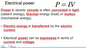 electrical power pg objectives use the equation for  5 power