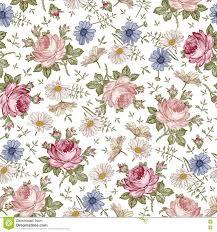 Naadloos Patroon Realistische Geïsoleerde Bloemen Uitstekende